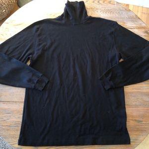 J CREW black cotton turtleneck/Mens L/Nice cond